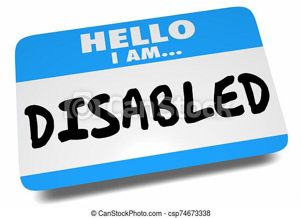 illustratie, 3d, invalide, label, hallo, naam, groet, sticker, woorden - csp74673338