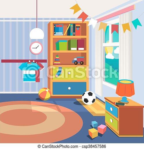Illustratie, toys., vector, slaapkamer, interieur, kinderen ...