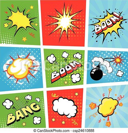 illustratie, vector, toespraak, achtergrond, strook, komisch, bellen - csp24610888