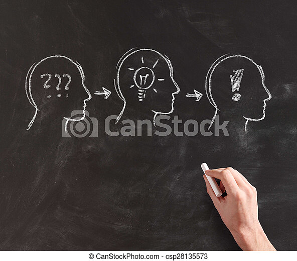 Illustrating Formation of Idea on Black Board - csp28135573