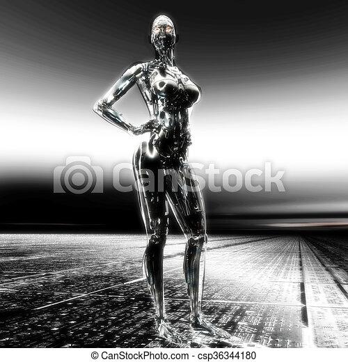 3D Illustration, 3D Rendering eines Cyborgs - csp36344180