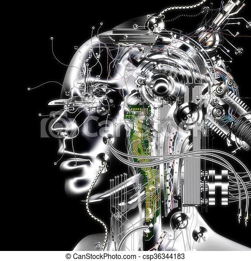 3D Illustration, 3D Rendering eines Cyborgs - csp36344183