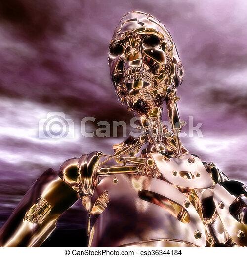 3D Illustration, 3D Rendering eines Cyborgs - csp36344184