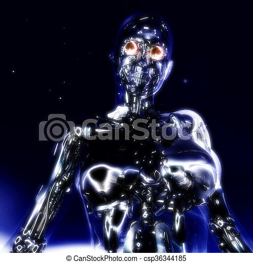 illustration;, übertragung, cyborg, 3d - csp36344185