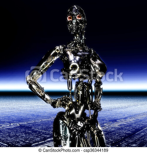 3D Illustration, 3D Rendering eines Cyborgs - csp36344189