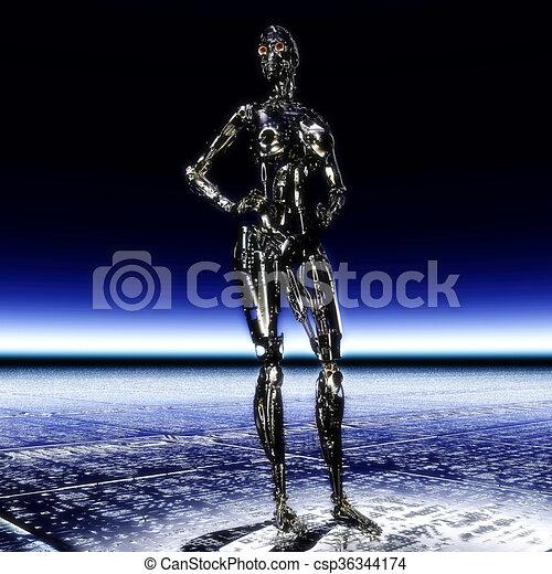 illustration;, übertragung, cyborg, 3d - csp36344174