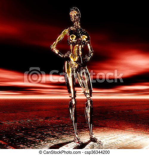 3D Illustration, 3D Rendering eines Cyborgs - csp36344200