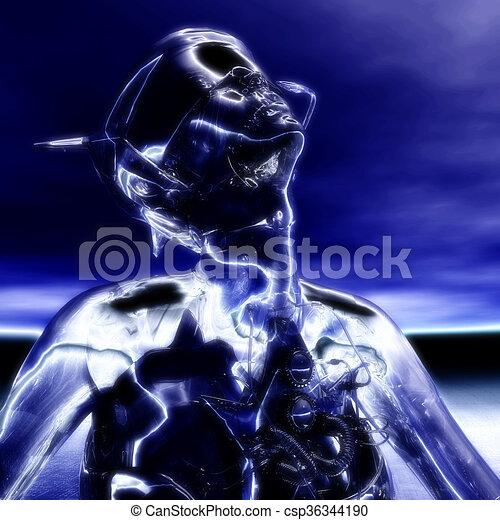 illustration;, übertragung, cyborg, 3d - csp36344190