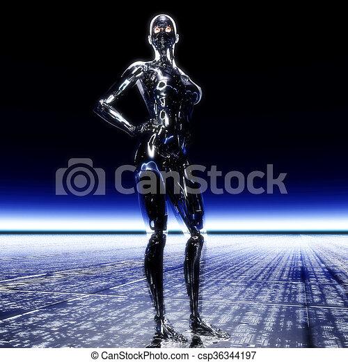 3D Illustration, 3D Rendering eines Cyborgs - csp36344197