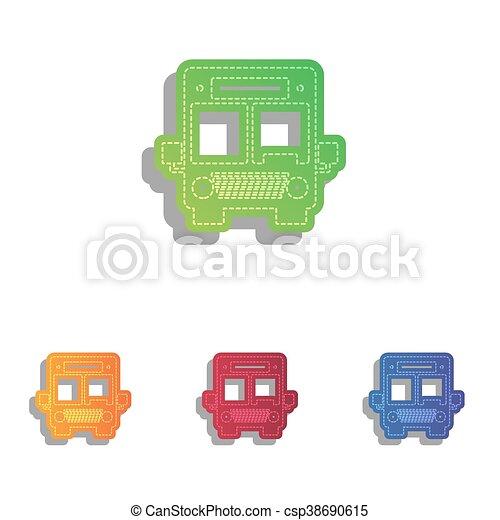 illustration., アイコン, バス, set., colorfull, アップリケ, 印 - csp38690615