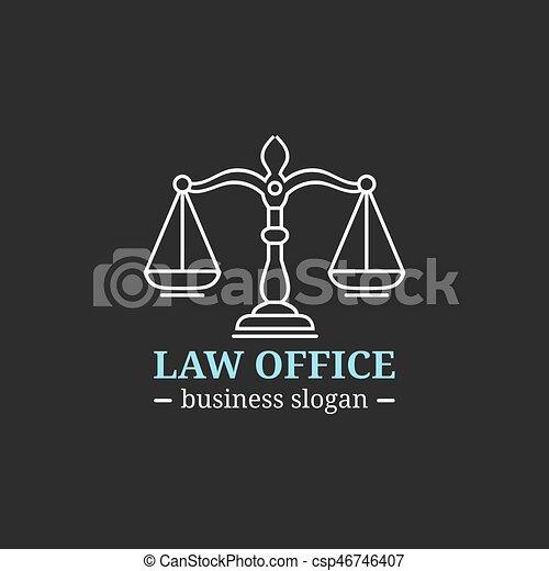 illustration., オフィス, 提唱者, ベクトル, 正義, ロゴ, badge., 型, ラベル, 弁護士, 法律, 司法上, 会社, スケール - csp46746407