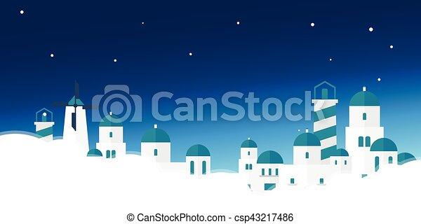 illustration., ポスター, 旅行, acropolis., ベクトル, ギリシャ, skyline. - csp43217486