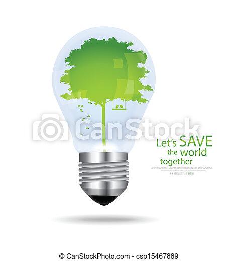 illustration., ライト, 木, 内側。, ベクトル, 電球, を除けば, 世界 - csp15467889