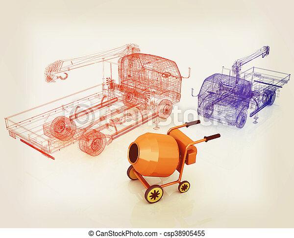 illustration., 型, ミキサー, コンクリート, モデル, truck., style., 3d - csp38905455