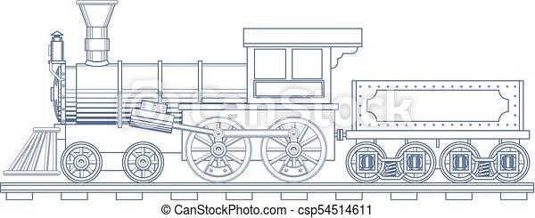 illustration., 型, 列車, ベクトル, 刻みなさい, 蒸気 - csp54514611