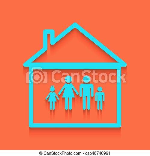 illustration., 家族, whitish, 壁, 印, バックグラウンド。, vector., れんが, アイコン - csp48746961