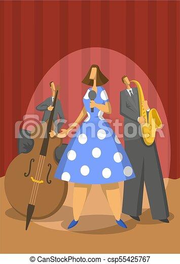 illustration., 抽象的, ジャズ, ベクトル, 音楽, trio., saxophonist, contrabassist, singer. - csp55425767