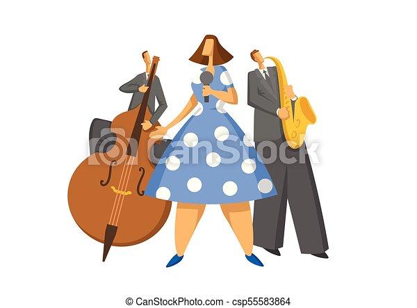 illustration., 抽象的, ジャズ, ベクトル, 音楽, trio., saxophonist, contrabassist, singer. - csp55583864