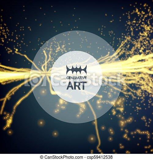 illustration., 電気, 抽象的, 動的, particles., effects., バックグラウンド。, 白熱, ベクトル, 照明, points., 配列, 技術, style., 未来派, 3d - csp59412538