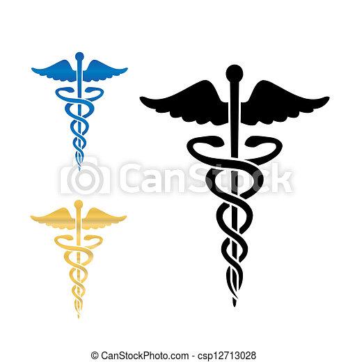 illustration., 상징, 벡터, 내과의, 헤르메스의 지팡이 - csp12713028