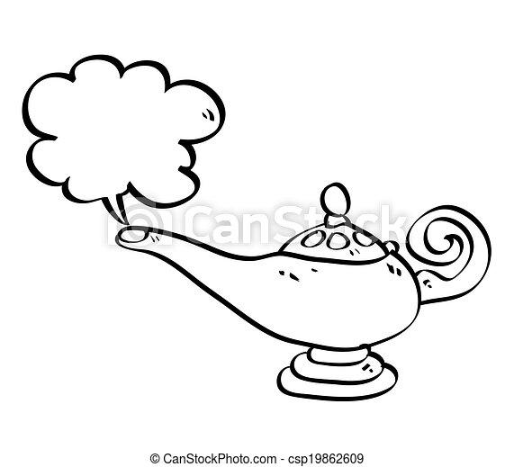 Illustration Aladin Isolé Lampe Vecteur Cloud Dessin Animé