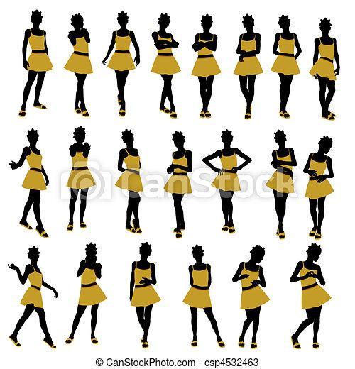 illustration, américain, africaine, adolescent, silhouette - csp4532463