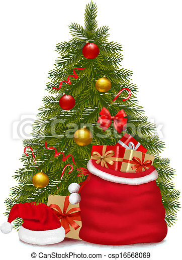 illustration., arbre, sac, vecteur, santa, gifts., noël - csp16568069