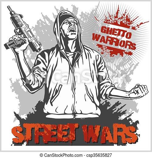 illustration., arrière-plan., guerriers, gangster, vecteur, graffiti, sale, ghetto - csp35635827