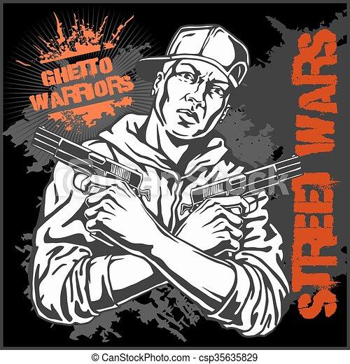 illustration., arrière-plan., guerriers, gangster, vecteur, graffiti, sale, ghetto - csp35635829