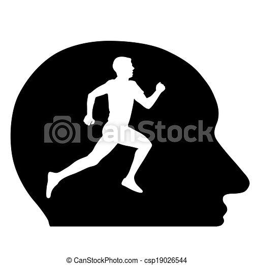Siluetas, atletas corriendo en mi cabeza, la idea conceptual. Ilustración de vectores. - csp19026544