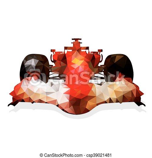 Auto de carreras de fórmula roja abstracta. Ilustración geométrica. Un automóvil poligonal - csp39021481