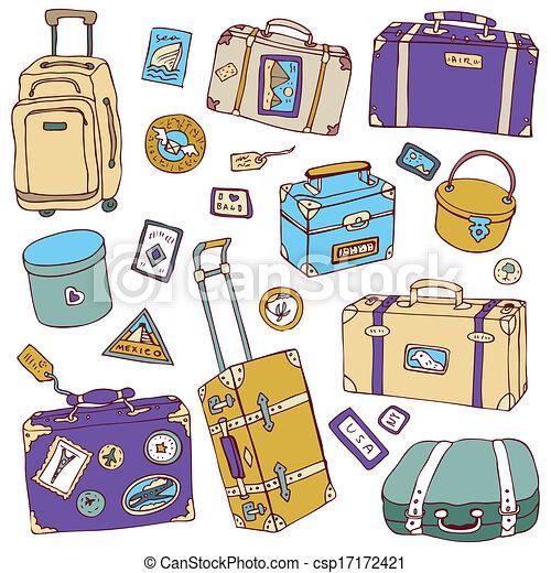 illustration., bőrönd, szüret, set., vektor, utazás - csp17172421