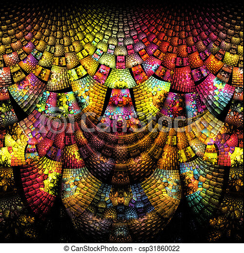 illustration background abstract bright fractal geometric patter - csp31860022