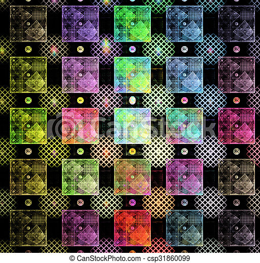 illustration background abstract bright fractal geometric patter - csp31860099