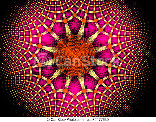 illustration background abstract bright fractal geometric pattern - csp32477639