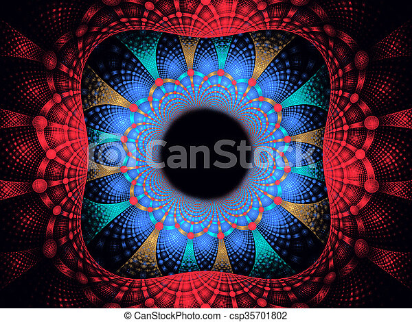 illustration background frame abstract bright fractal geometric - csp35701802