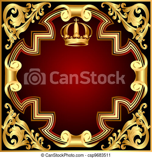 Illustration background invitation with gold(en) crown and vignette and pattern - csp9683511