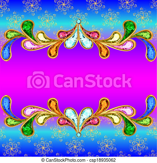 illustration background with a horizontal band of jewels and ornaments of gold - csp18935062