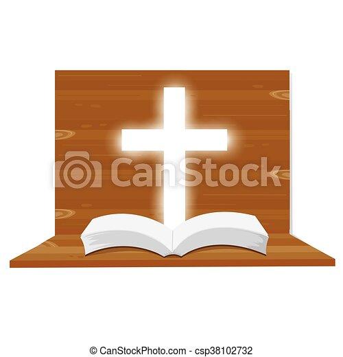 Illustration Bible Open Christian Into The Light Religious Symbol