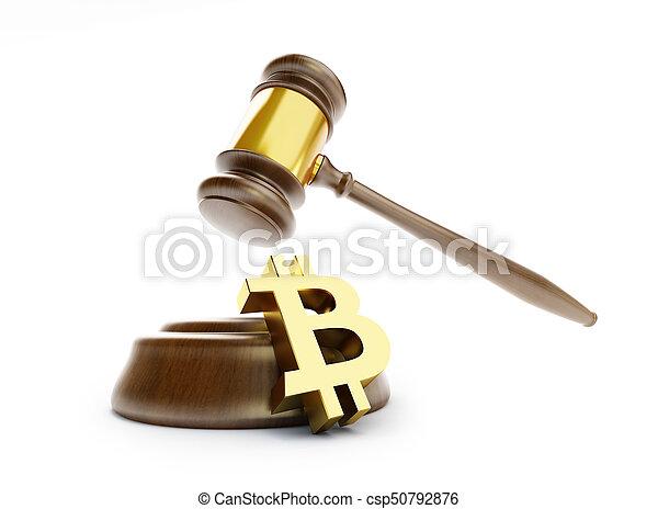 illustration, bitcoin, rendre, fond, blanc, droit & loi, 3d - csp50792876