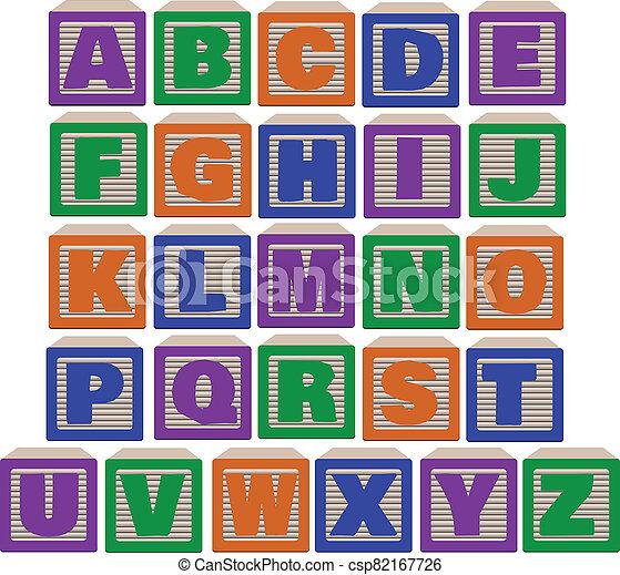Illustration Bold Color Alphabet Blocks - csp82167726
