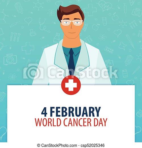 illustration., cancer, monde médical, day., holiday., vecteur, 4, february., médecine, mondiale - csp52025346