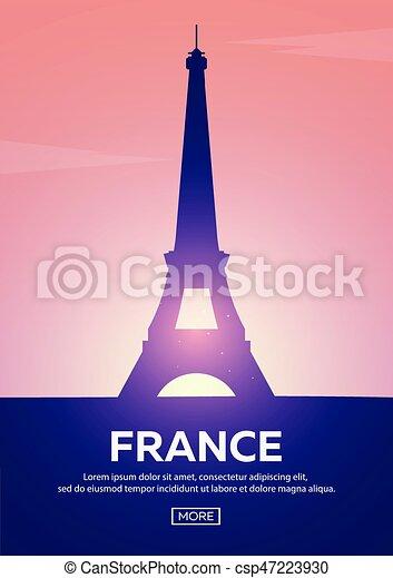 Cartel de viaje a Francia. Marcas siluetas. Ilustración de vectores. - csp47223930