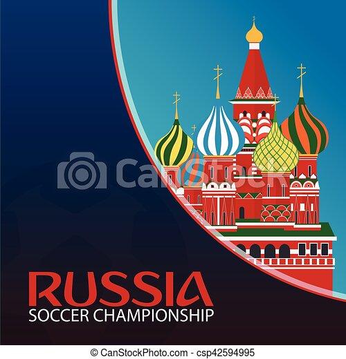 illustration., championship., sport, vecteur, football., russia., football - csp42594995