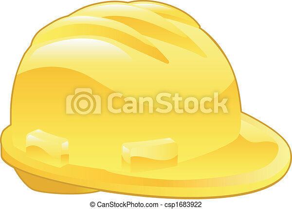 illustration, chapeau, jaune, dur, brillant - csp1683922