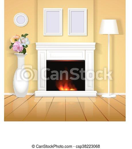 Illustration., clásico, realista, diseño, interior, hogar, chimenea ...