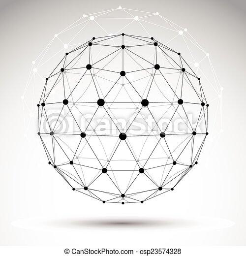 illustration, cle, résumé, wireframe, objet, vecteur, géométrique, 3d - csp23574328