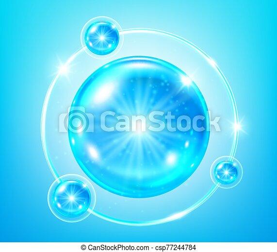 illustration, collagène, vecteur, bleu, solution. - csp77244784