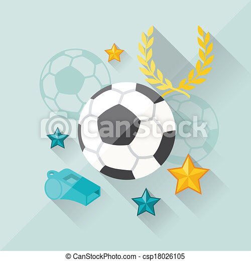 Illustration concept of football in flat design style. - csp18026105