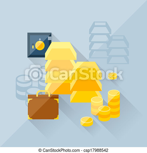 Illustration concept of precious metals in flat design style. - csp17988542